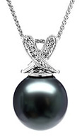Natural Black Tahitian Pearl & Diamond Drop Pendant, 14K White Gold