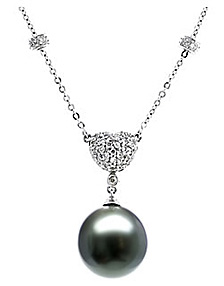 Buy Black Tahitian Pearl Drop Pendant, 14K White Gold