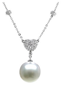 South Sea Pearl and Diamond Drop Pendant, 14K White Gold (Necklaces, Apples of Gold)