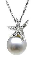 Natural South Sea Pearl & Diamond Star Pendant, 14K White Gold