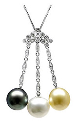 Natural South Sea, Golden Sea & Black Tahitian Pearl Drop Pendant, 18K White Gold