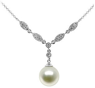 Natural Fresh Water Pearl & Diamond Necklace in 14K White Gold