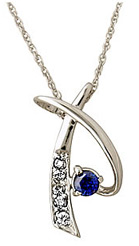 Sapphire and Diamond Pendant, 14K White Gold (Earrings, Apples of Gold)
