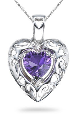 0.65 Carat Amethyst Heart Pendant, 14K White Gold