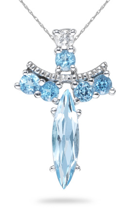 Blue Topaz Angel Pendant, 14K White Gold (Pendants, Apples of Gold)