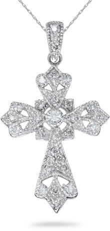 Rustic 0.44 Carat Diamond Cross Pendant, 14K White Gold
