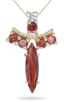 Buy Garnet Angel Pendant, 14K Yellow Gold
