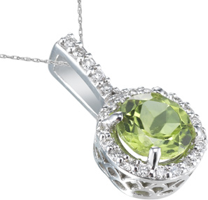 Round Peridot and Diamond Pendant, 14K White Gold