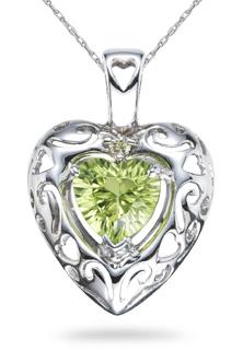 Peridot Heart Pendant, 14K White Gold