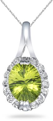 Buy Oval Peridot and Diamond Pendant, 14K White Gold
