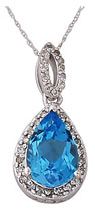Blue Topaz and Diamond Pear Shape Pendant 14K White Gold