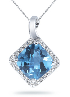 Cushion-Cut 9mm Blue Topaz and Diamond Pendant