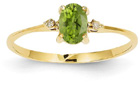 Peridot and Diamond Birthstone Ring, 14K Yellow Gold