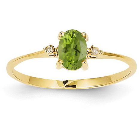 Peridot and Diamond Birthstone Ring, 14K Yellow Gold