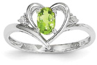 Peridot and Diamond Heart Design Ring, 14K White Gold