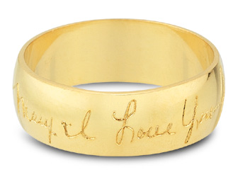 Personalized Handwritten Wedding Band, 14K Yellow Gold