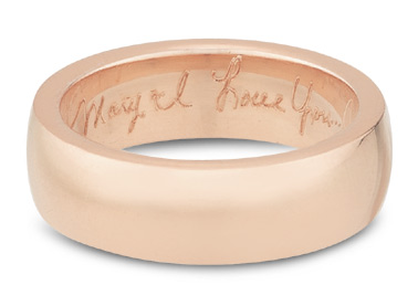 Handwritten Engraved Wedding Band, 14K Rose Gold