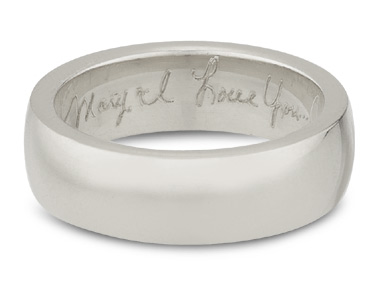 Handwritten Engraved Wedding Band, 14K White Gold