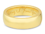Handwritten Engraved Wedding Band, 14K Yellow Gold