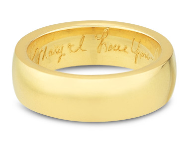 Buy Handwritten Engraved Wedding Band, 14K Yellow Gold