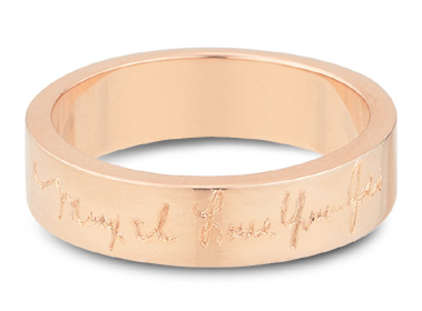 14K Rose Gold, Personalized Handwrinting Wedding Band