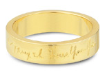 14K Yellow Gold, Personalized Handwriting Wedding Band