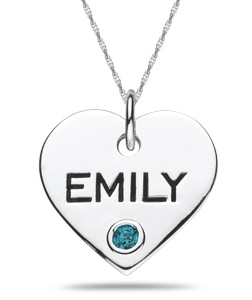Sterling Silver Personalized Gemstone Heart Pendant