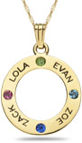 Personalized Gemstone Engraveable Circle Pendant