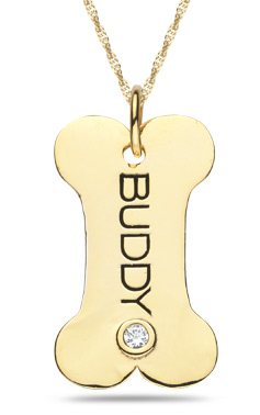 Personalized gold doggy bone pendant aloadofball Images
