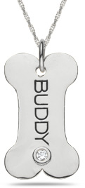 "Buy Personalized ""Doggy Bone"" Pendant in 10K or 14K White Gold"