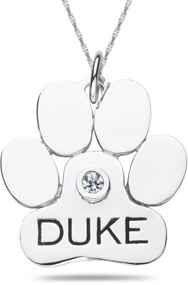 Personalized dog paw pendant in 10k or 14k white gold mozeypictures Images