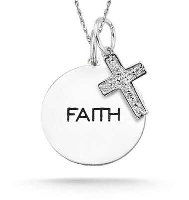 14K White Gold Personalized Diamond Cross and Charm Pendant