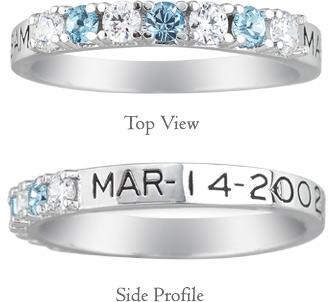 Personalized Alternating Gemstone Birthstone Ring