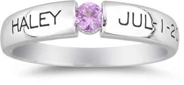 Personalized Tension-Set Gemstone Birthstone Ring