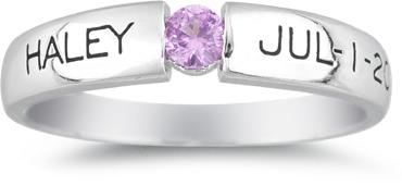 Personalized Tension-Set Gemstone Birthstone Ring