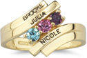 Engraveable Gemstone Mother Ring in 10K or 14K Gold
