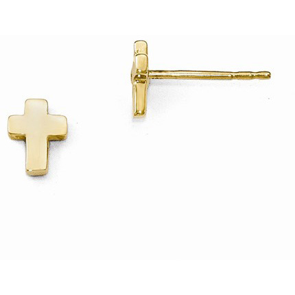 Petite Cross Stud Earrings in 14K Yellow Gold