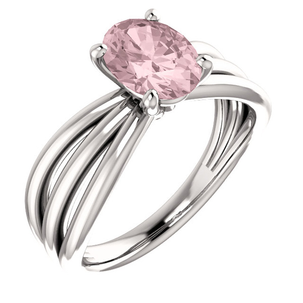 Pink Morganite Trinity Band Ring in 14K White Gold