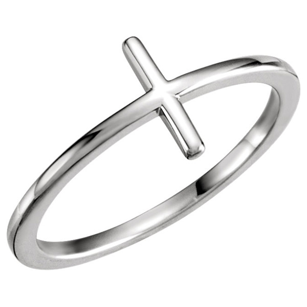 Plain 14K White Gold Cross Ring for Women