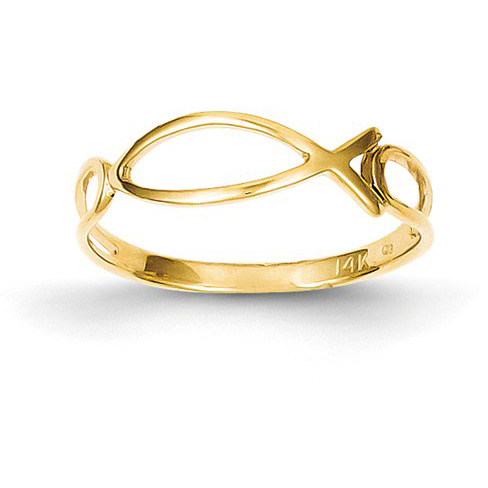 Polished Ichthus Ring in 14K Yellow Gold