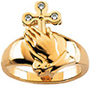 Praying Hands Diamond Cross Ring