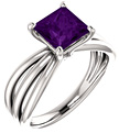 Princess-Cut Amethyst Tri-Band Ring, 14K White Gold