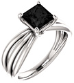 Princess-Cut Black Onyx Trinity Ring in 14K White Gold