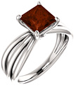 Princess-Cut Garnet Trinity Band Ring in 14K White Gold