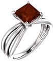 Princess-Cut Garnet Tri-Band Ring in Sterling Silver