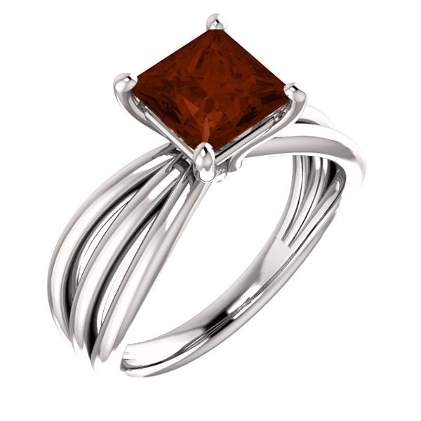 Princess-Cut Garnet Trinity Band Ring in 14K White Gold