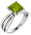 Princess-Cut Peridot Tri-Band Ring, 14K White Gold