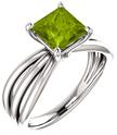 Princess-Cut Peridot Trinity Band Ring in Sterling Silver