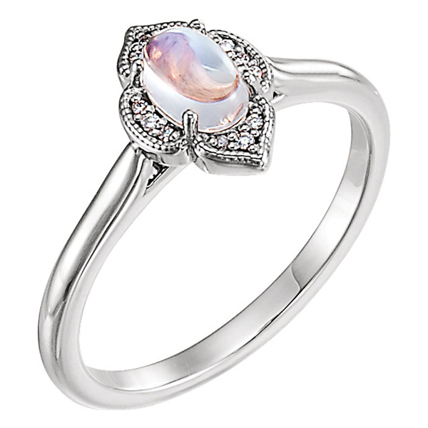 Rainbow Moonstone and Diamond Clover Cabochon Ring, 14K White Gold