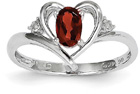 Red Garnet and Diamond Heart Ring in 14K White Gold
